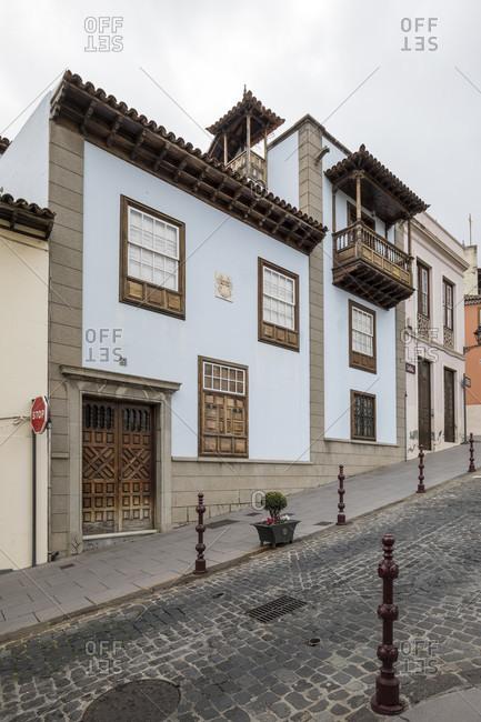 Row of houses in Calle carrera del escultor estevez, la orotava, tenerife, canary islands, Spain