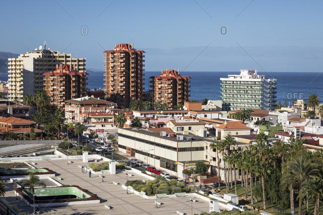 January 22, 2020: hotels in Puerto de la Cruz, tenerife, canary islands, Spain