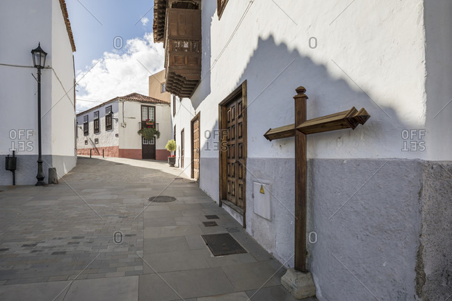 January 22, 2020: row of houses on plaza Rosario oramas village square, san Juan de la rambla, tenerife, canary islands, Spain