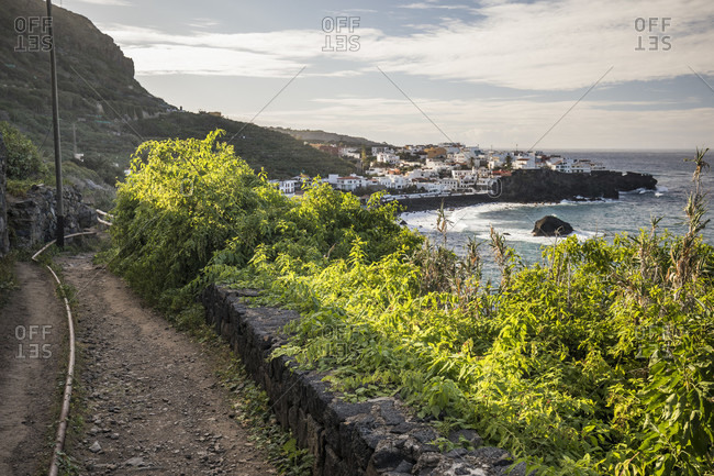 Coastal trail to las aguas on the north coast, atlantic ocean, tenerife, canary islands, Spain
