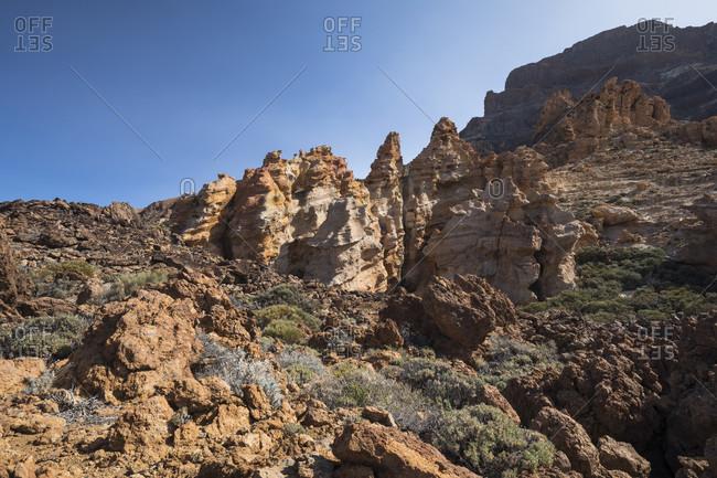 Rock group roques del capricho (also piedras amarillas) in the el teide national park, unesco world heritage, tenerife, canary islands, Spain