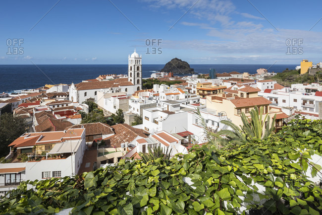 View over garachico with the Santa ana church on the atlantic ocean, tenerife, canary islands, Spain