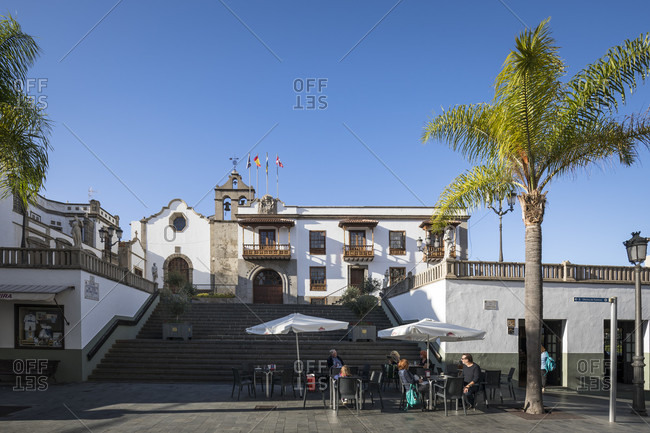 January 24, 2020: street cafe and town hall in icod de los vinos, tenerife, canary islands, Spain