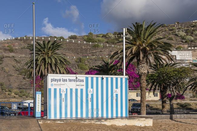 January 25, 2020: changing rooms on playa de las teresitas beach near san Andres, tenerife, canary islands, Spain