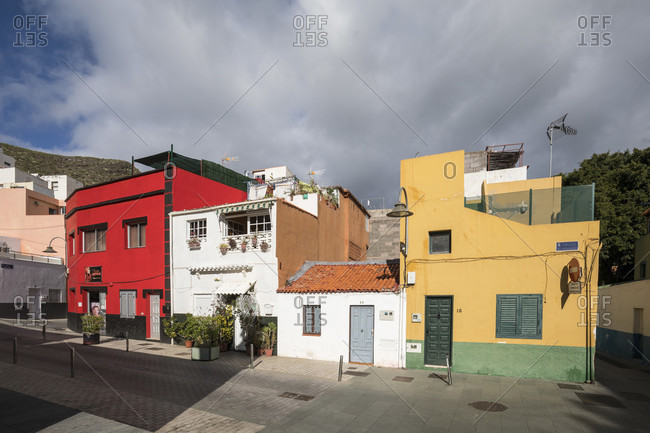 January 25, 2020: colorful houses on Calle Rosario, san Andres, tenerife, canary islands, Spain