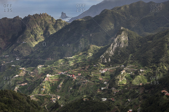 View from the mirador picot del ingles to the anaga mountains with scattered houses, tenerife, canary islands, Spain