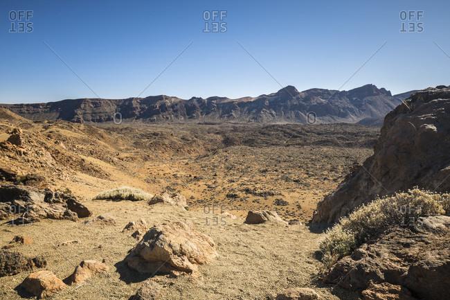 View of the calderarand from the minas de san jose viewpoint, caldera de las canadas, el teide national park, unesco world heritage, tenerife, canary islands, Spain