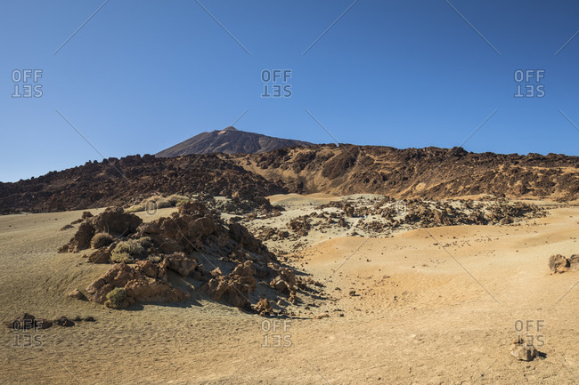Pumice stone field at the minas de san jose viewpoint, el teide national park, unesco world heritage, tenerife, canary islands, Spain