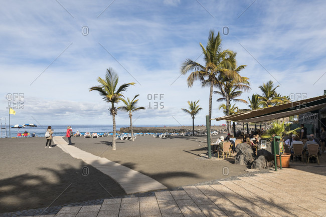 January 27, 2020: playa jardin beach, Puerto de la Cruz, tenerife, canary islands, Spain