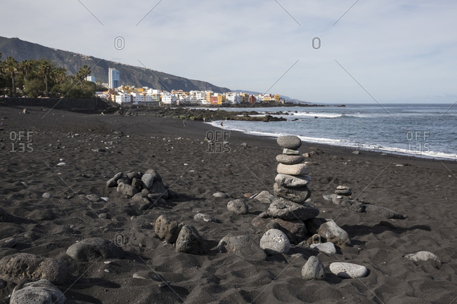 Stone tower on playa jardin beach, Puerto de la Cruz, tenerife, canary islands, Spain
