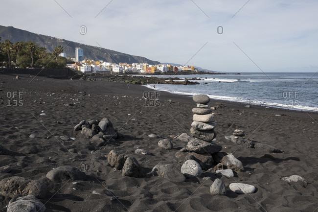 Stone tower on playa jardin beach, Puerto de la Cruz, tenerife, canary islands, Spain