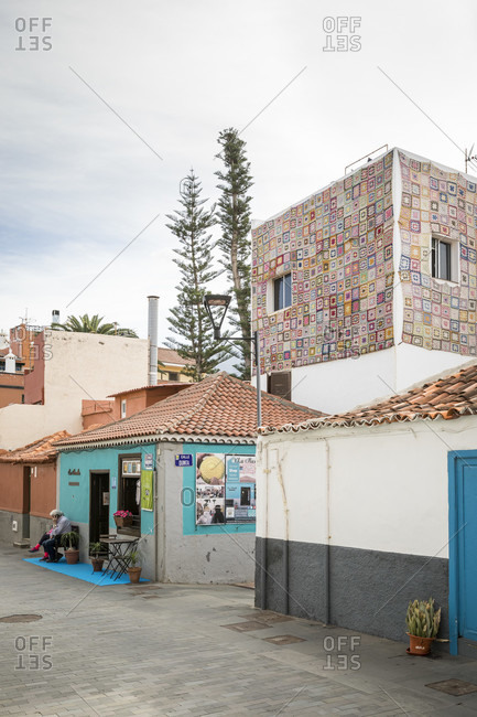 January 27, 2020: buildings with patchwork curtain walls in the district of la ranilla in Puerto de la Cruz, tenerife, canary islands, Spain