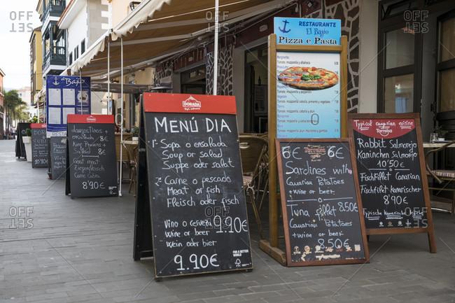 January 27, 2020: restaurants in Calle mequinez in Puerto de la Cruz, tenerife, canary islands, Spain