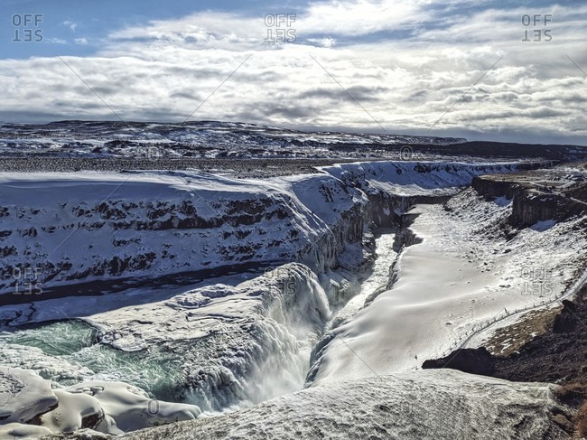 Frozen gulfoss during the fall
