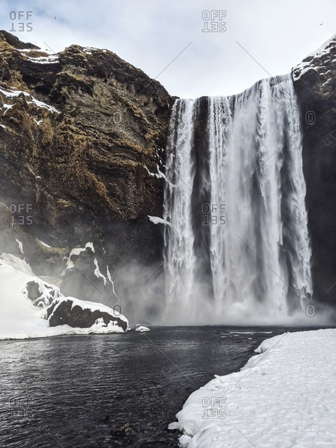 Skogafoss waterfall, iceland. wide shot.