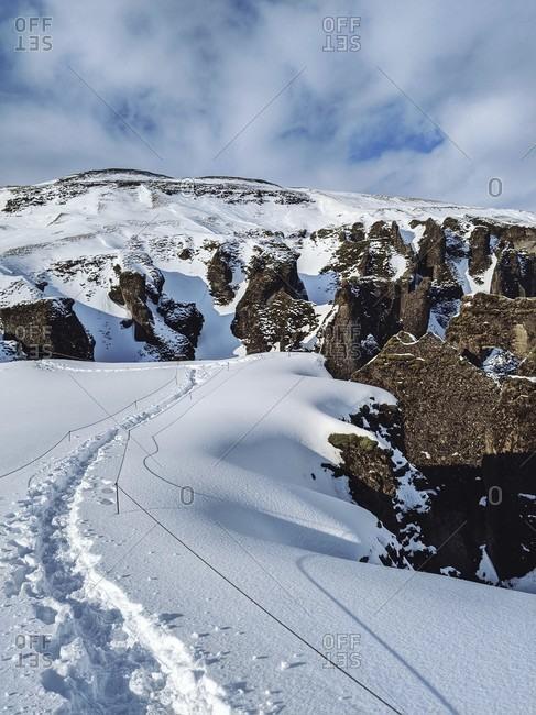 Fjaðrárgljúfur canyon in winter, south iceland