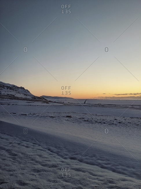 Sunrise in iceland, view of ring road