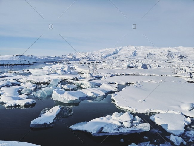 View over the jokulsarlon glacier lagoon with its floating icebergs, iceland