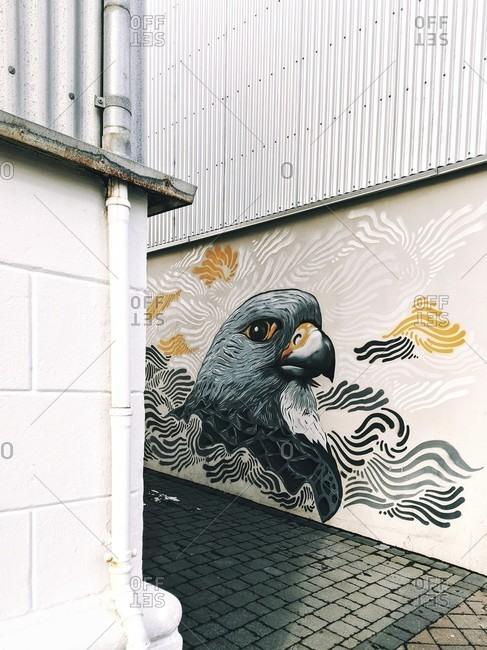 March 17, 2020: pigeon, street art in iceland's capital, reykjavik
