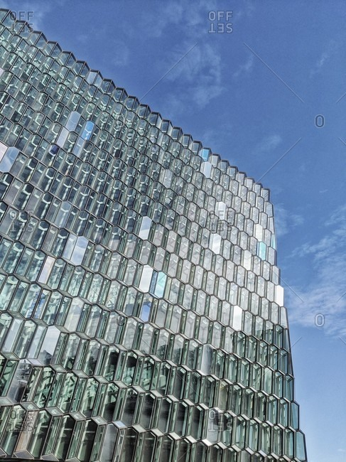 March 17, 2020: glass facade of the harpa concert hall, reykjavik, iceland
