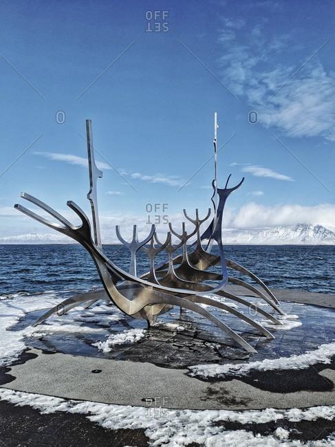 """March 17, 2020: """"the sun voyager"""" sculpture by artist Jón gunnar árnason in reykjavik, iceland"""