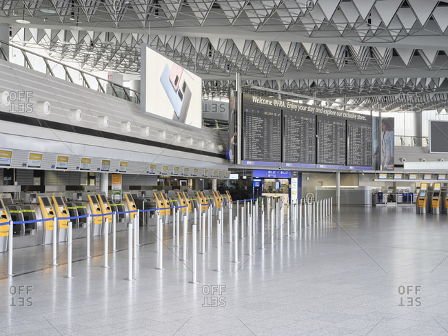 April 18, 2020: the deserted departure hall of terminal 1 at frankfurt airport during the corona pandemic during the general lockdown in Germany