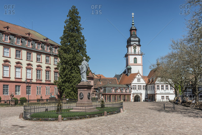 April 23, 2020: erbach, odenwald, hesse, germany, view of the palace square with the old town hall and the protestant parish church in the background