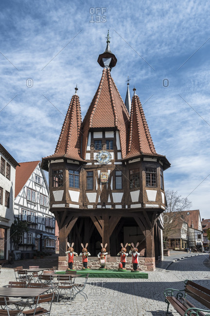 April 16, 2020: michelstadt, hessen, germany. the historic town hall of michelstadt with easter decorations.