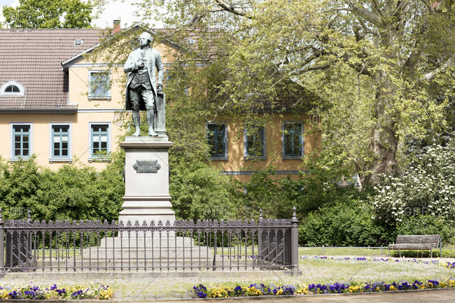 May 4, 2019: lessing monument, lessink platz, old town, braunschweig, lower saxony, Germany, Europe