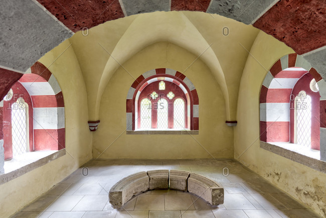 May 12, 2019: cloister, imperial cathedral, collegiate church, interior design, koenigslutter am elm, lower saxony, Germany, Europe