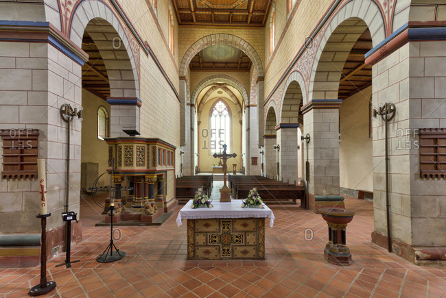 May 11, 2019: mariental abbey, monastery church, interior design, mariental, lower saxony, Germany, Europe