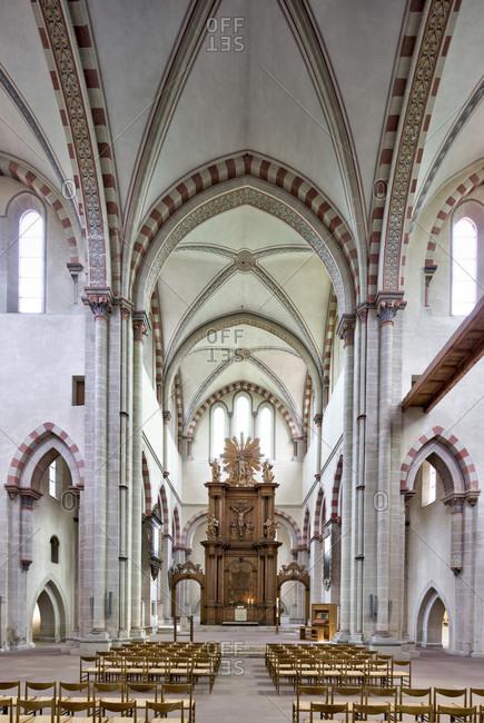 May 15, 2019: klosterkirche, riddagshausen, choir, ambulatory, interior design, braunschweig, lower saxony, Germany, Europe
