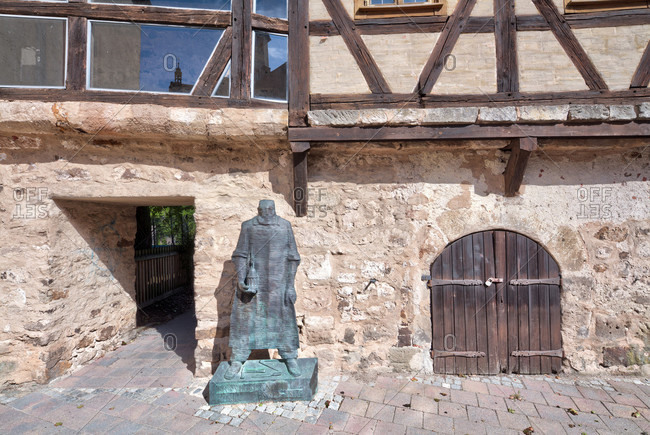 September 2, 2019: ernst von bandel, monument, statue, margrave museum, city wall, ansbach, middle franconia, franconia, Bavaria, Germany, Europe