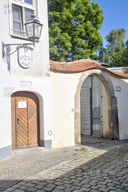 September 2, 2019: hostel to home, house facade, homeless accommodation, social facility, foundation, ansbach, franconia, Bavaria, Germany, Europe,