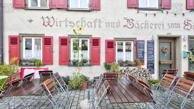 September 10, 2019: house facade, window, idyll, blaubeuren, alb-donau district, swabian alb, Baden-Wurttemberg, Germany