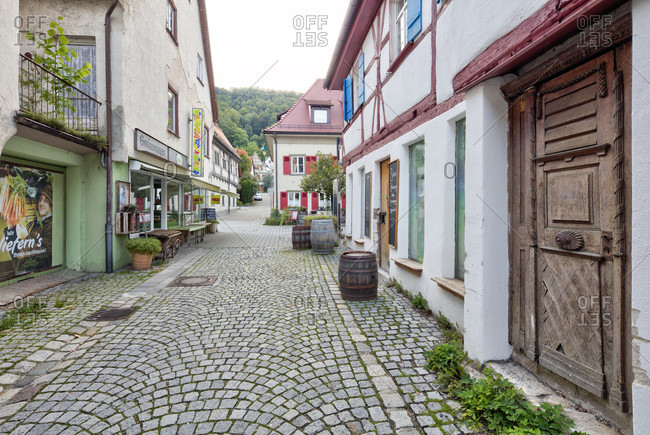 September 10, 2019: picturesque alley, house facades, half-timbered house, idyll, blaubeuren, alb-donau district, swabian alb, Baden-Wurttemberg, Germany