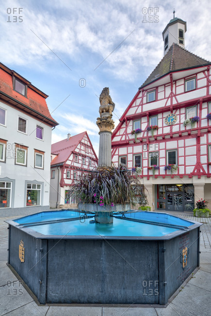 September 10, 2019: fountain, town hall, house facade, half-timbered house, idyll, blaubeuren, alb-donau district, swabian alb, Baden-Wurttemberg, Germany