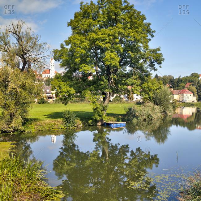 View from the old stone bridge, wornitz river, old town, harburg, swabia, Bavaria, Germany