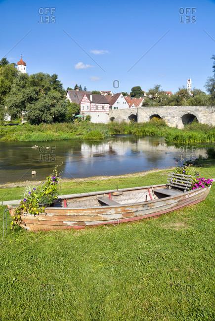 September 13, 2019: old stone bridge, river wornitz, old town, half-timbered, harburg, swabia, Bavaria, Germany