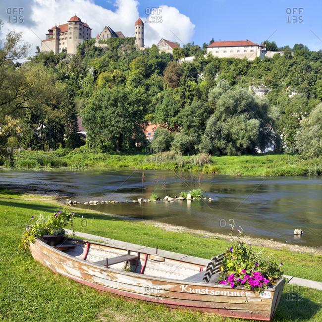 September 13, 2019: harburg castle, wornitz river, harburg, swabia, Bavaria, Germany