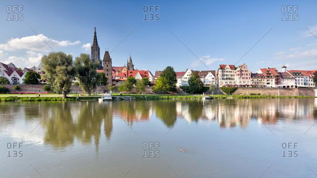 City fortification, metzgerturm, fischerviertel, ulm minster, danube, old town, ulm, Baden-Wurttemberg, Germany