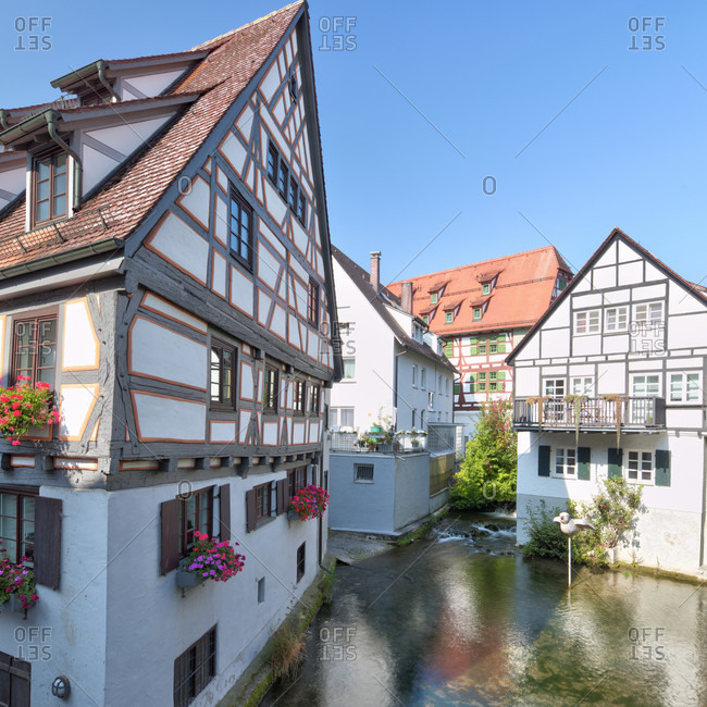 Fischerviertel, river, blue, house facades, idyll, old town, ulm, Baden-Wurttemberg, Germany