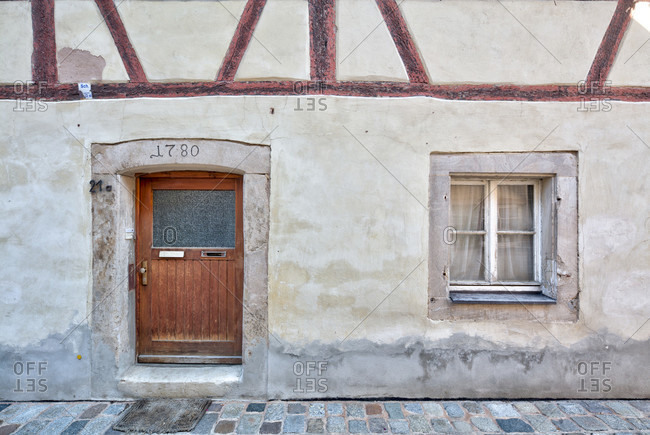 House facade, front door, half-timbered, old town, weissenburg, franconia, Bavaria, Germany