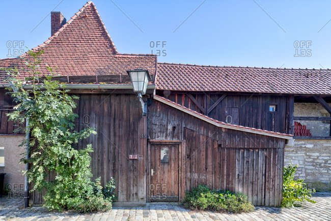 House facade, old city wall, old town, weissenburg, franconia, Bavaria, Germany