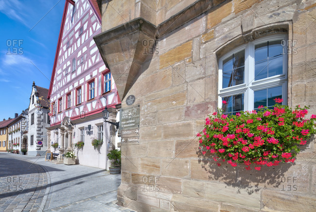 September 3, 2019: alte vogtei, half-timbering, house facades, architecture, hauptstrasse, wolfram-eschenbach, franconia, Bavaria, Germany