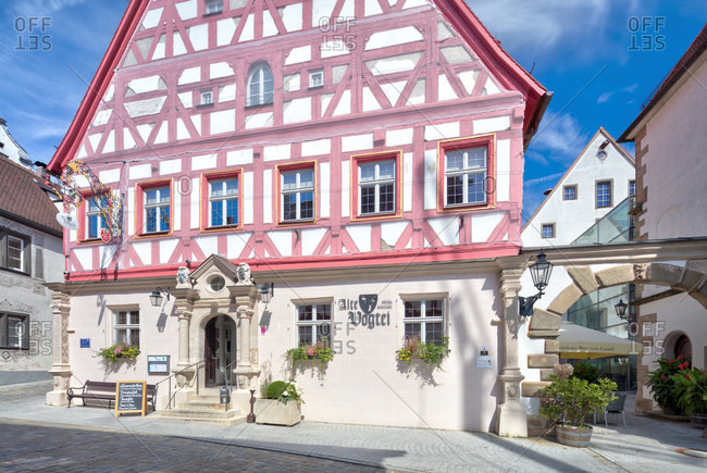 September 3, 2019: old bailiwick, half-timbered house facade, architecture, wolfram-eschenbach, franconia, Bavaria, Germany
