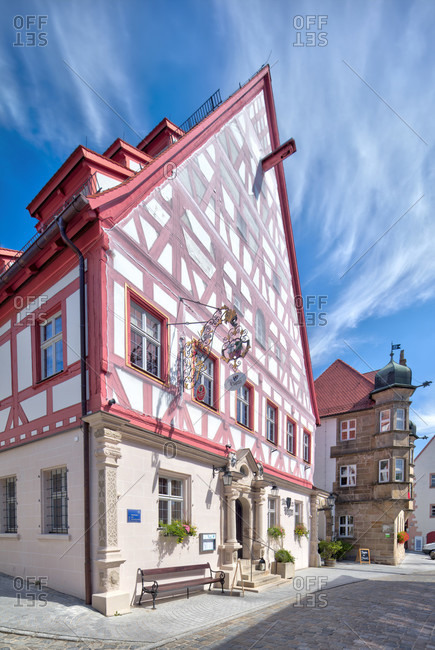 Old bailiwick, half-timbered house facade, architecture, wolfram-eschenbach, franconia, Bavaria, Germany
