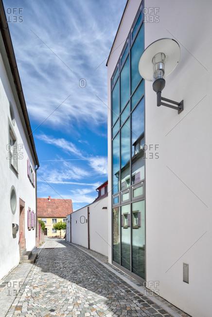 Old bailiwick, modern house facade, alley, architecture, wolfram-eschenbach, franconia, Bavaria, Germany