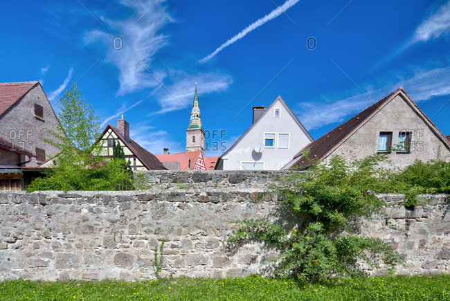 City wall, city fortifications, church tower, literary path, wolfram-eschenbach, franconia, Bavaria, Germany