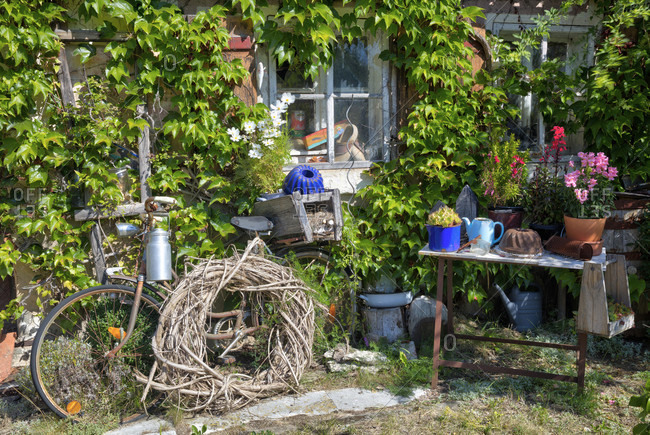 House facade, window, wood shop, bicycle, garden, still life, wolfram-eschenbach, franconia, Bavaria, Germany
